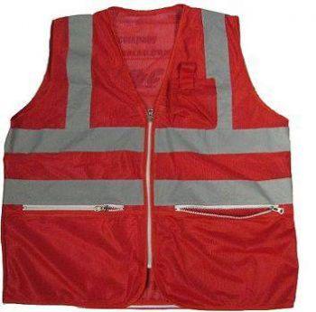 Áo bảo hộ lao động phản quang lưới có túi hộp màu đỏ