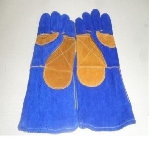Găng tay da dài - da lộn mềm chống nóng EU (2 lớp màu xanh viền phối vàng)