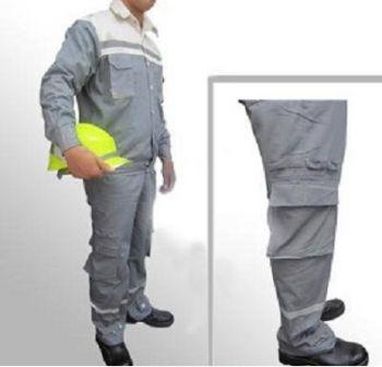 Quần áo bảo hộ lao động vải bạt dày chống cháy màu ghi